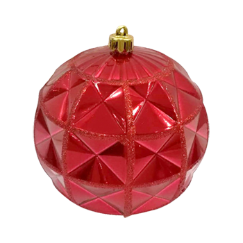 Crystal Bauble Red with Red Glitter 12cm