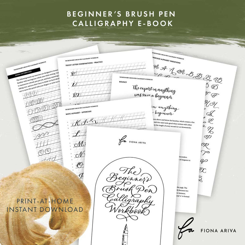 Download Print at Home Beginner's brush pen learn lettering calligraphy workbook practice sheets by Fiona Ariva