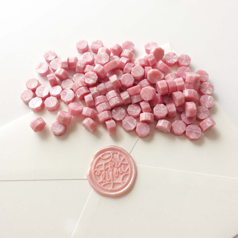 Blush light pale  pink sealing wax with for you wax seal on envelope Australia