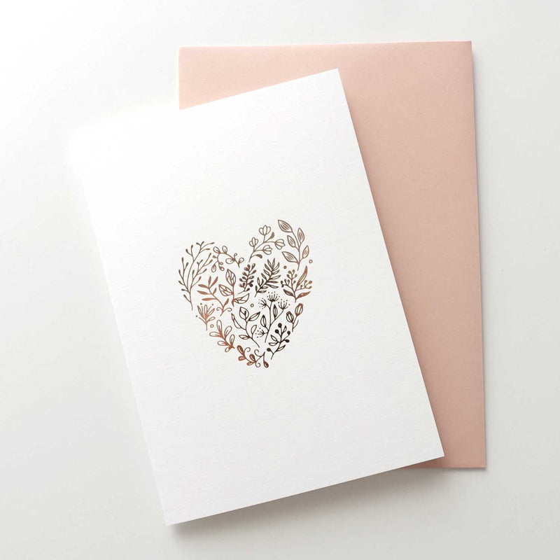Floral heart minimal rose gold foiled greeting card Australia