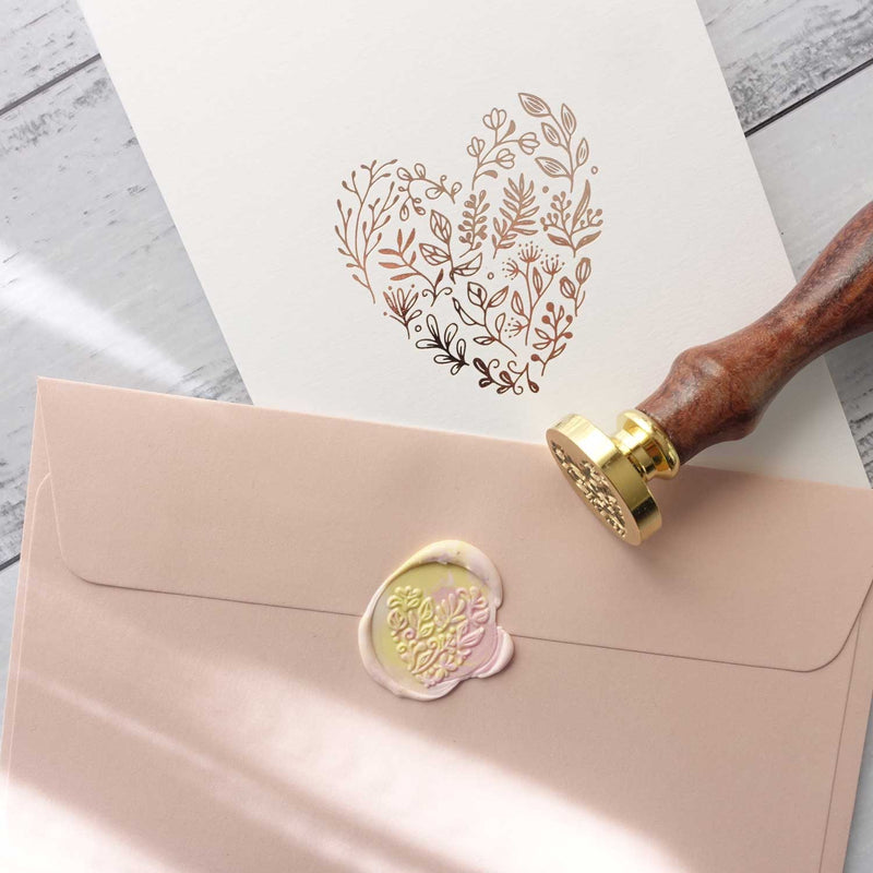 Botanical Heart floral heart with pink envelope and wax seal