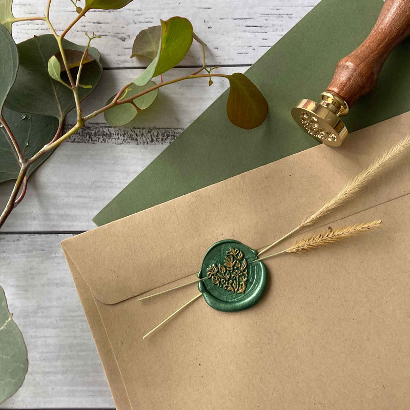 Wax Sealing Kit - Botanical Floral Love Heart stamp, wax sticks, spoon