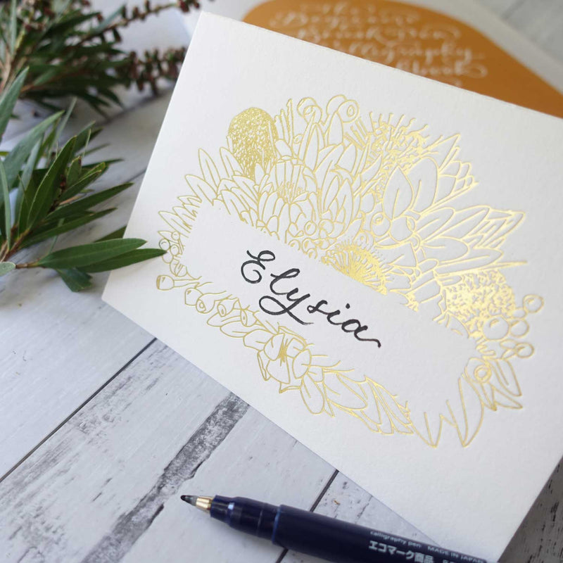 Gold foil calligraphy greeting card with Australian native botanical drawings
