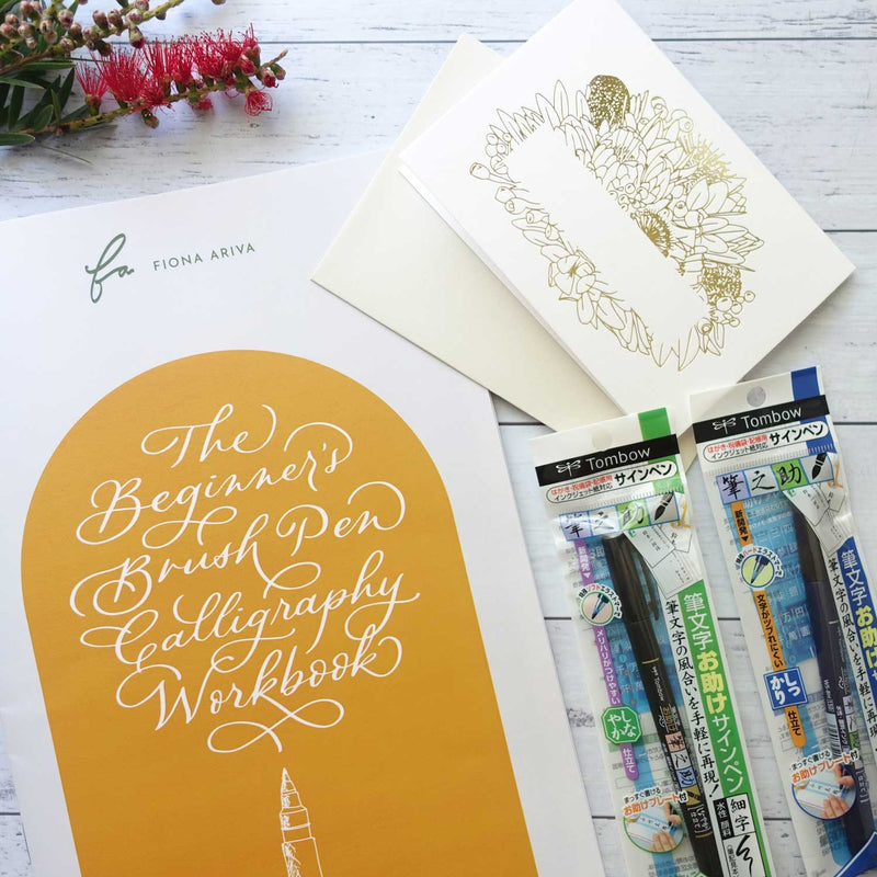 Beginner's brush pen lettering calligraphy workbook kit Australia