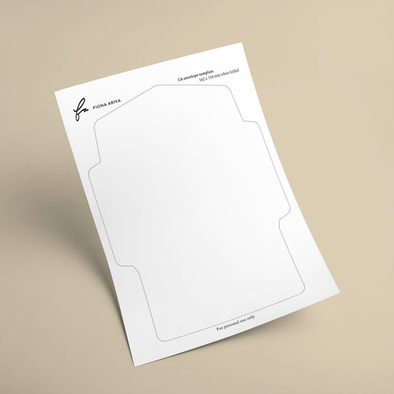C6 envelope template with large flap