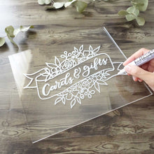 DIY acrylic wedding table sign for cards and gifts