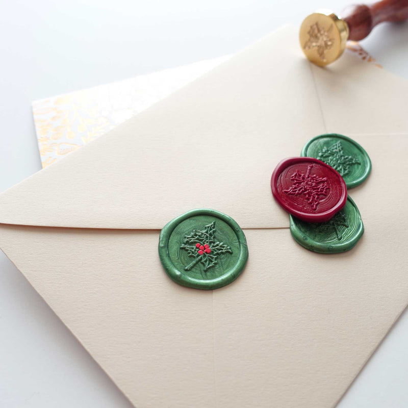 Christmas holly green red wax seals envelope