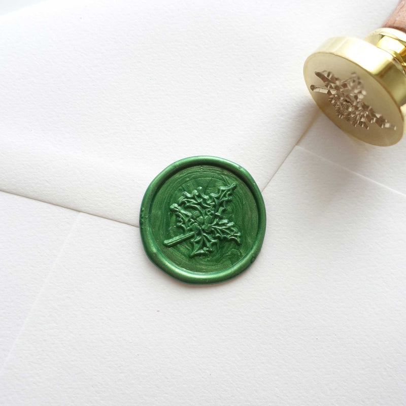 Christmas holly wax seal envelope Fiona Ariva