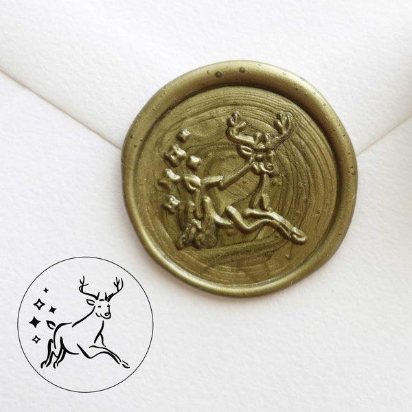 Christmas reindeer green gold wax seal Australia