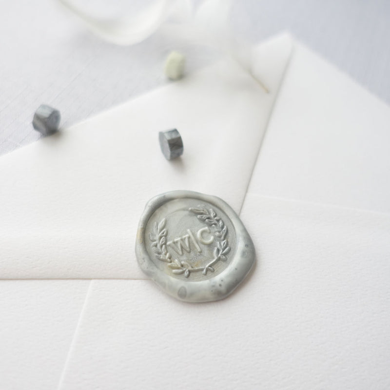 Wreath-custom-wax-seal-stamp-wedding-monogram-personalized-in-Australia
