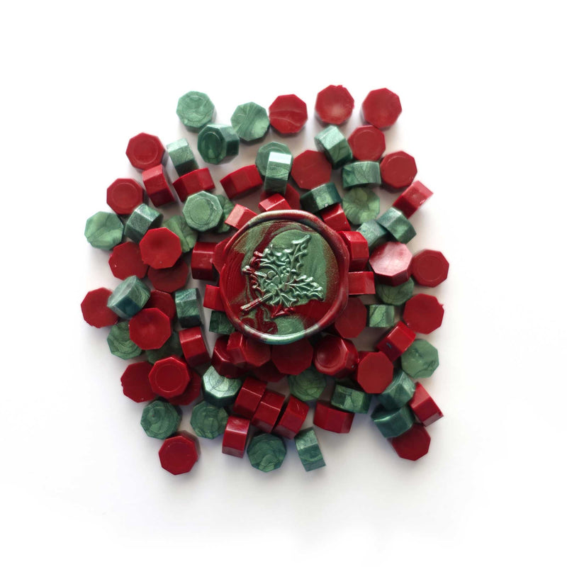 Forest Green + Deep Crimson Red 100pcs sealing wax granules tablets beads