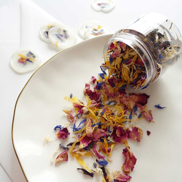 Dried rose lavender calendular flower petals jar Australia wax seal