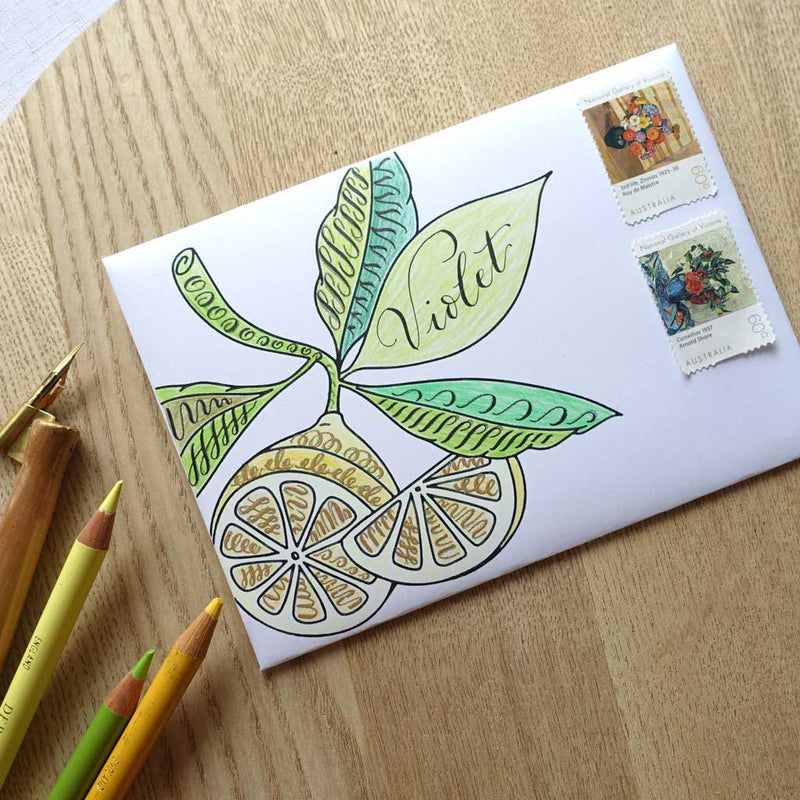 Creative free easy lettering calligraphy envelope mail art idea
