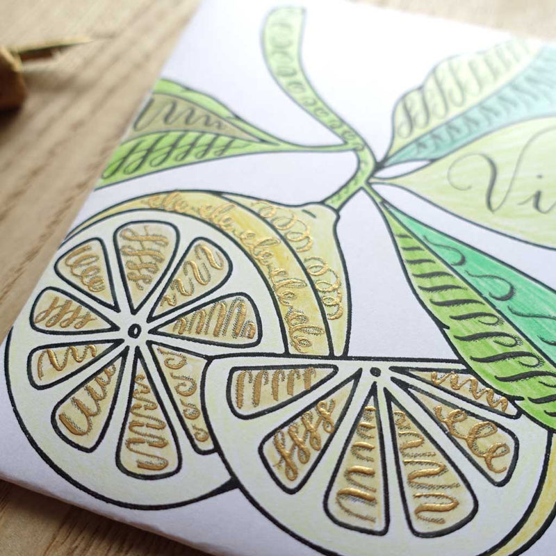 Lemon line drawing free lettering drills envelope mail art