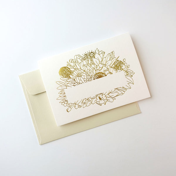 Gold foil stamped greeting card of Australian native florals