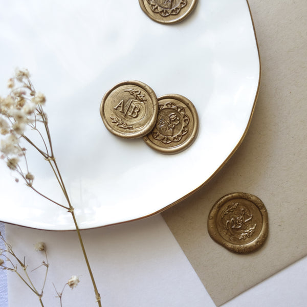 Bronze gold wax seals for wedding invitations and envelopes Australia