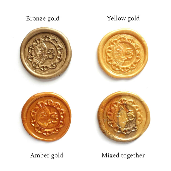 Fiona Ariva wax seal gold bronze yellow amber mixed