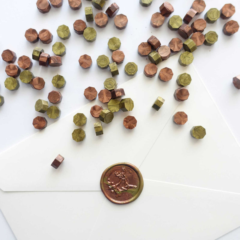 Green Gold + Hickory Brown 100pcs sealing wax granules tablets beads