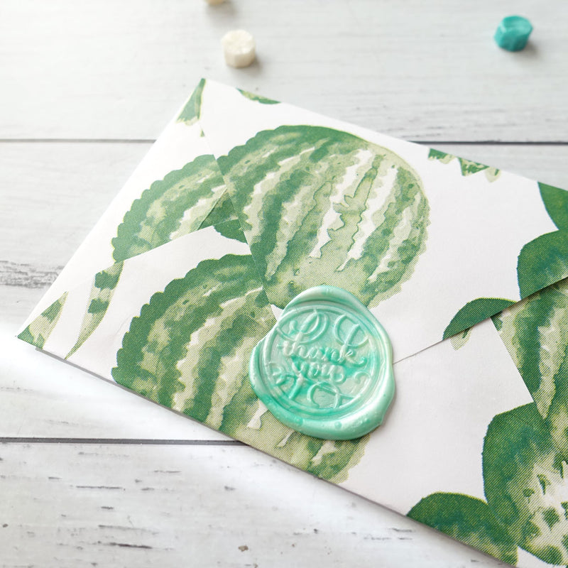 Handmade cactus envelope with thank you wax seal