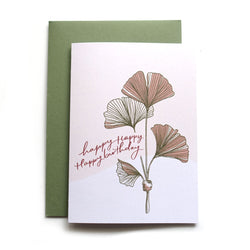 Ginkgo leaves line drawing art happy birthday greeting card with olive green envelope