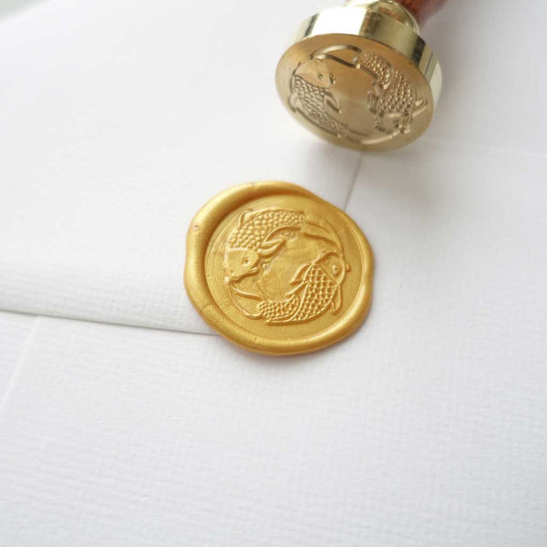Koi fish yin yang wax seal stamp for wedding envelopes