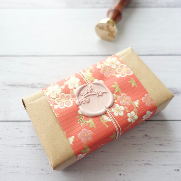 Cherry blossom wax seal gift wrapping present idea