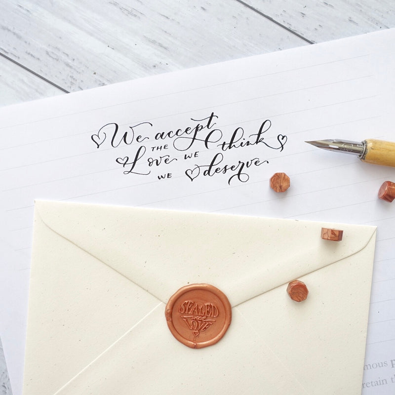 Sealed with Love wax seal envelope with calligraphy