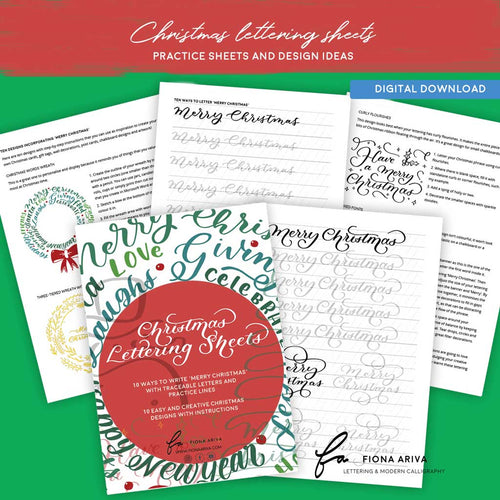 Christmas Lettering Sheets - digital download