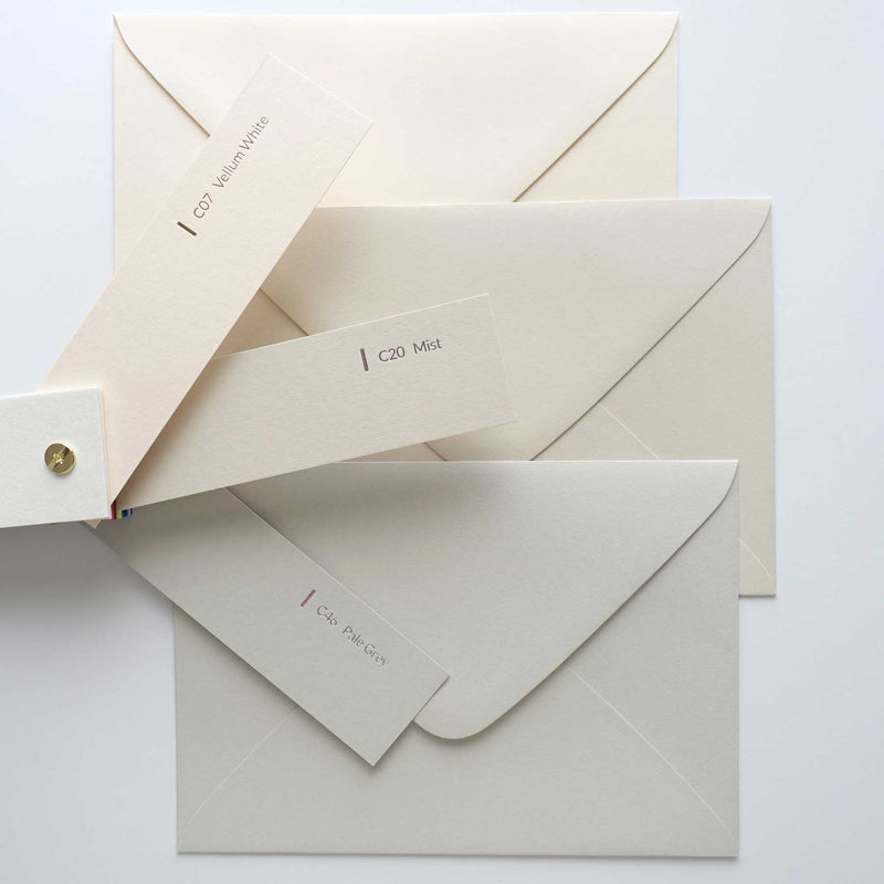Assorted envelopes bundle pack Colorplan mist vellum white pale grey Australia