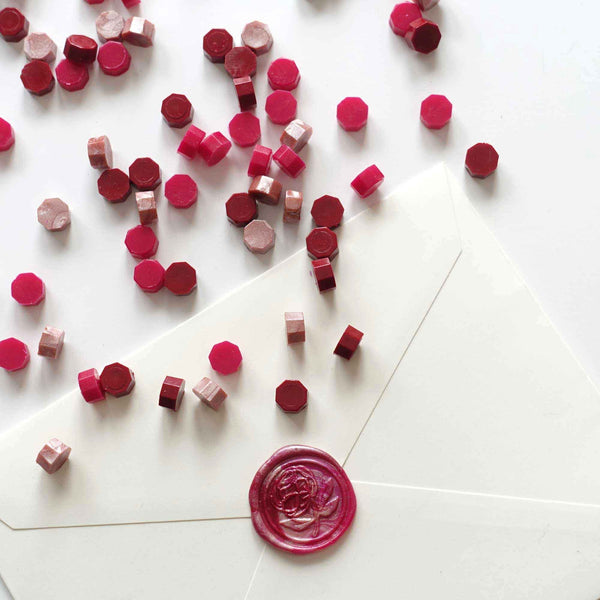 Mixed Red Deep Crimson Plum Red Antique Rose 100pcs sealing wax granules pellets beads