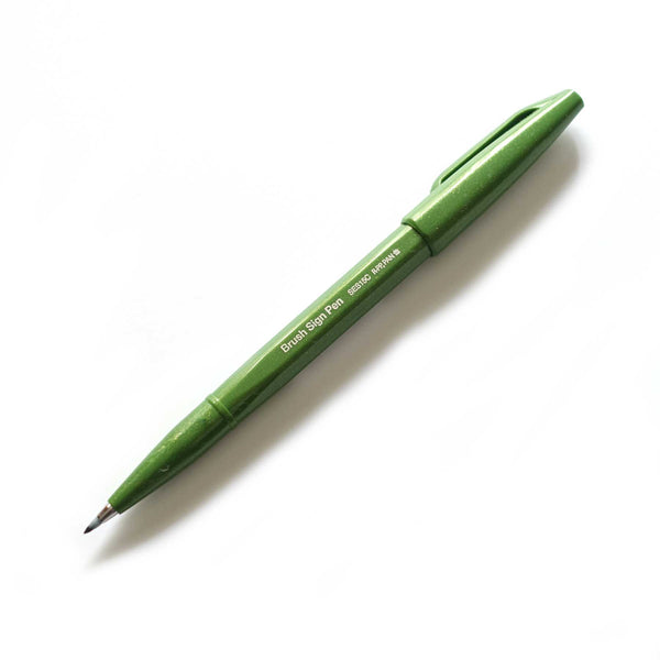Pentel fude touch brush sign pen olive green new colours Australia lettering calligraphy