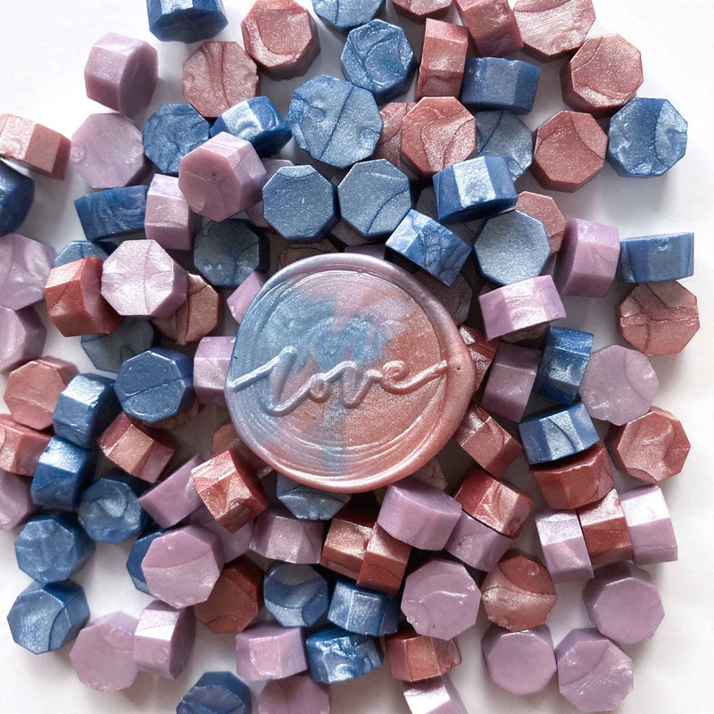 Pastel Skies Mix Pale Lilac Frost Blue Antique Rose 100pcs sealing wax granules pellets beads
