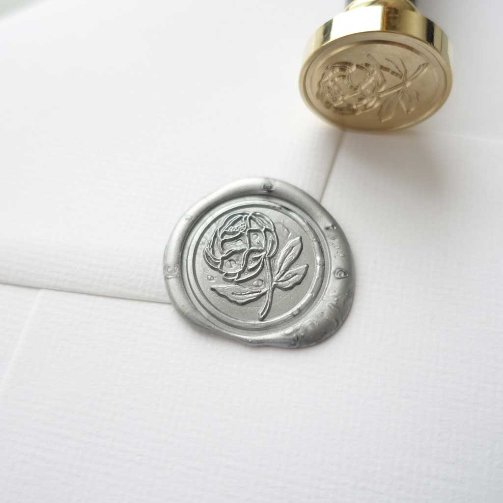 Peony flower wax seal stamp for wedding envelopes