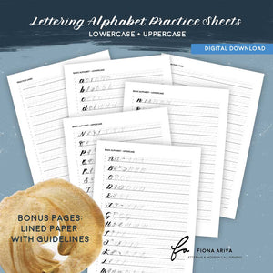 Learn lettering alphabet practice sheets lowercase and uppercase