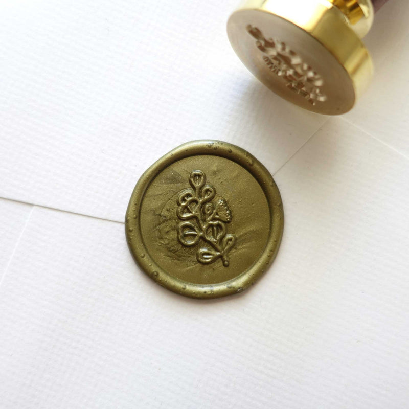Silver dollar eucalyptus wax seal stamp