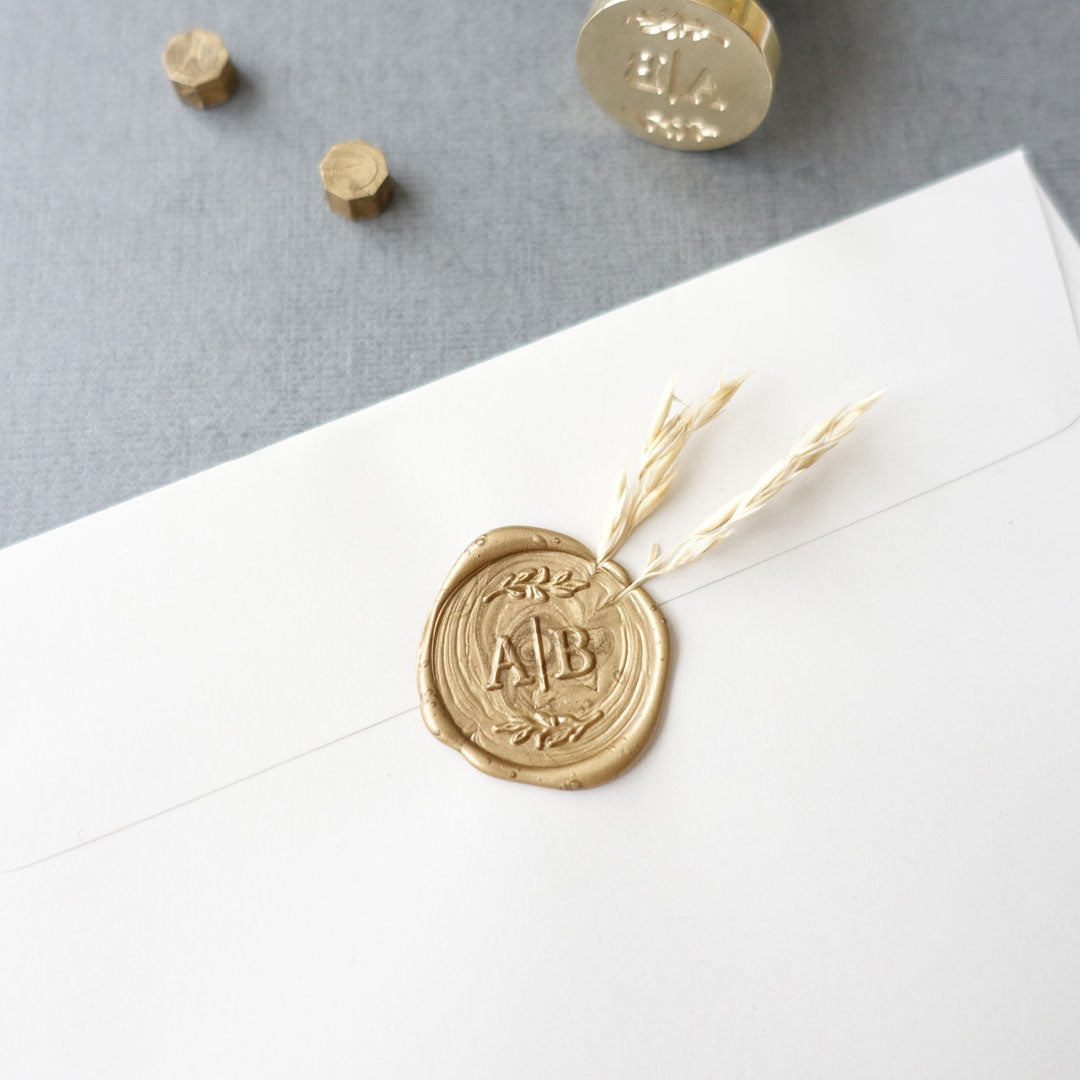 Spring Sprigs Semi Custom Wedding Monogram Wax Seal Stamp Set