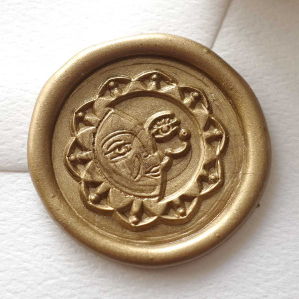 Sun and moon bronze gold wax seal