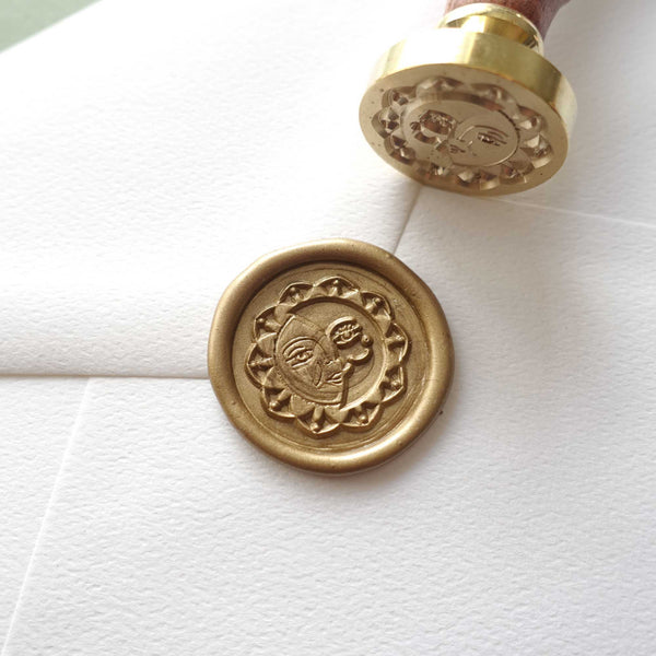 Sun and moon celestial wax sealing stamp Australia with bronze gold wax seal