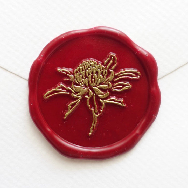 Waratah red wax seal with gold outline