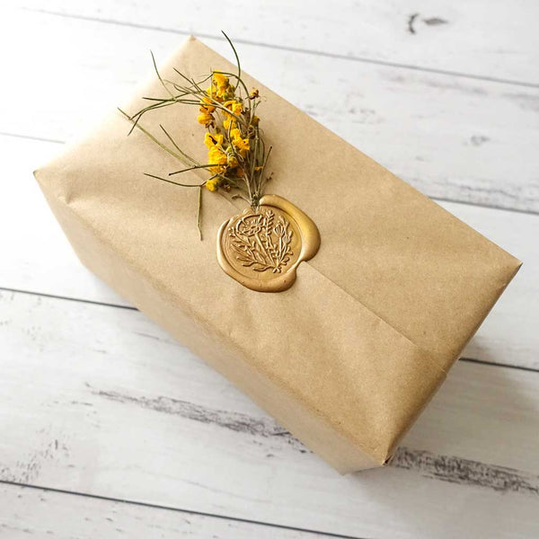 Wax seal gift wrapping present idea with flowers