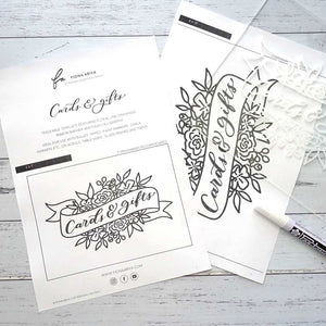 Free lettering banner template with flowers and florals