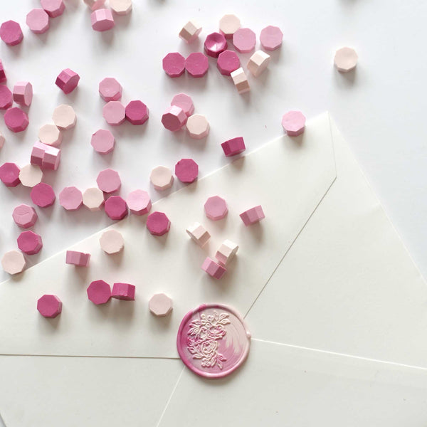 Fiona Ariva mixed pink sealing wax beads granules Melbourne Sydney Australia with floral stamp