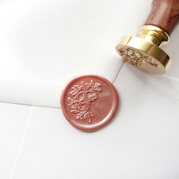 Half Garland Rose peony flowers wax seal stamp dusty pink Fiona Ariva Australia