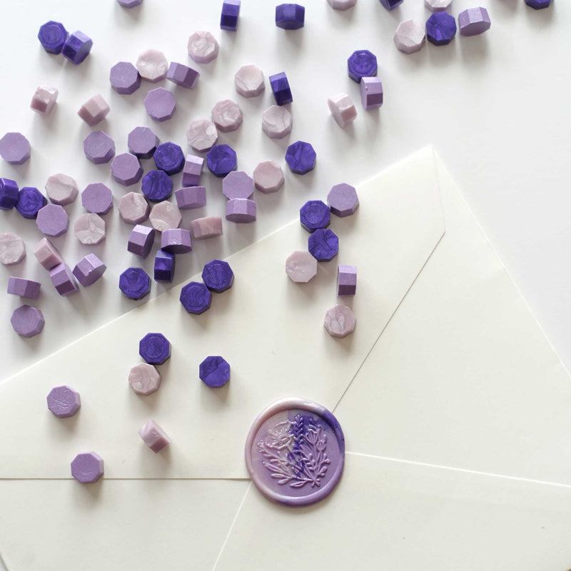 Mixed purple lavender lilac sealing wax seal beads pellets Melbourne Sydney Australia envelopes