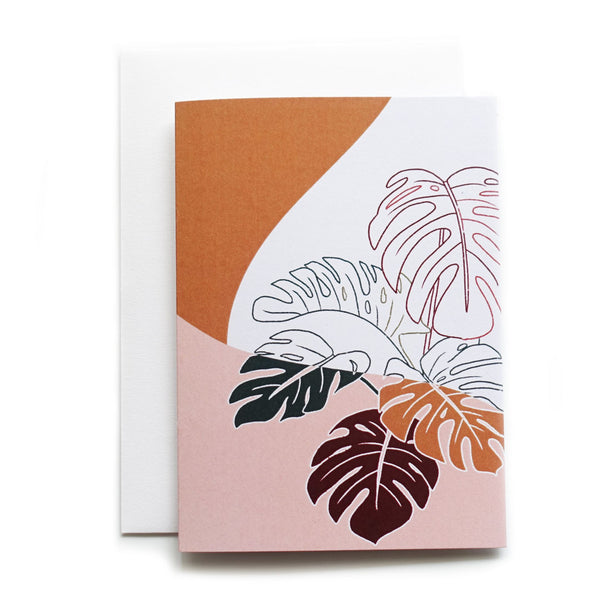 Monstera deliciosa indoor plant retro art line drawing greeting card