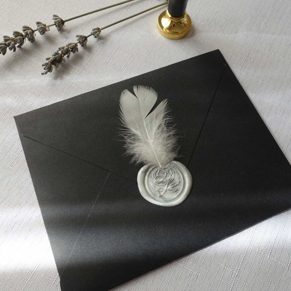Peony rose feather wax seal marble stamp invitation envelope