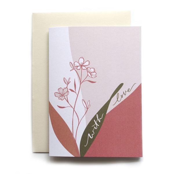 With love botanical wild flower line drawing art greeting card with oatmeal envelope