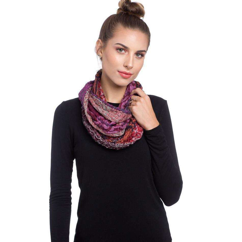 Wool and Silk Infinity Scarf - Red & Purple