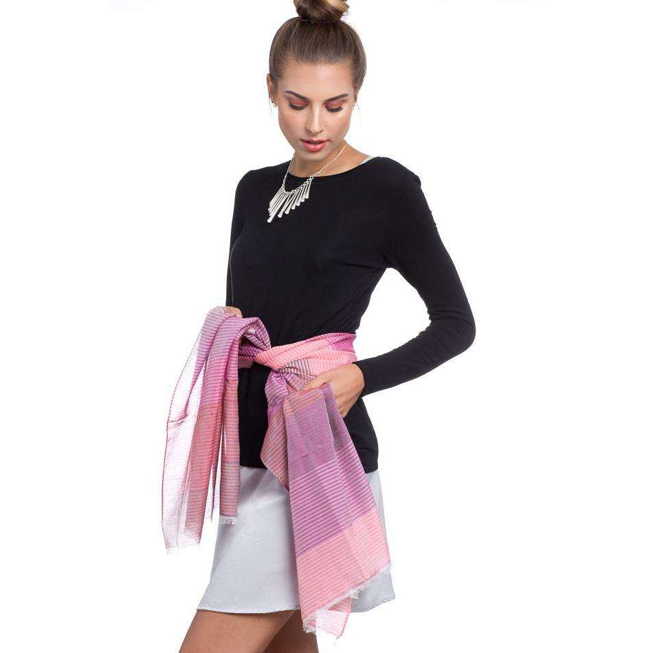 Cotton and Silk Rectangle Scarf - Pink
