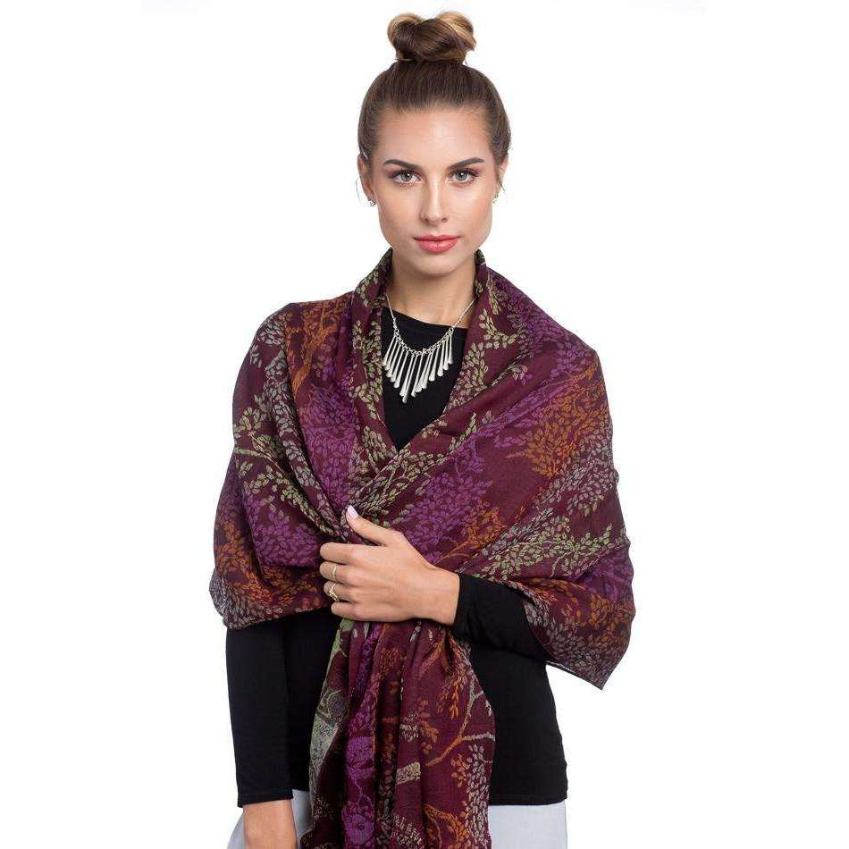 Wool, Cotton, and Silk Rectangle Scarf & Shawl - Orange & Purple